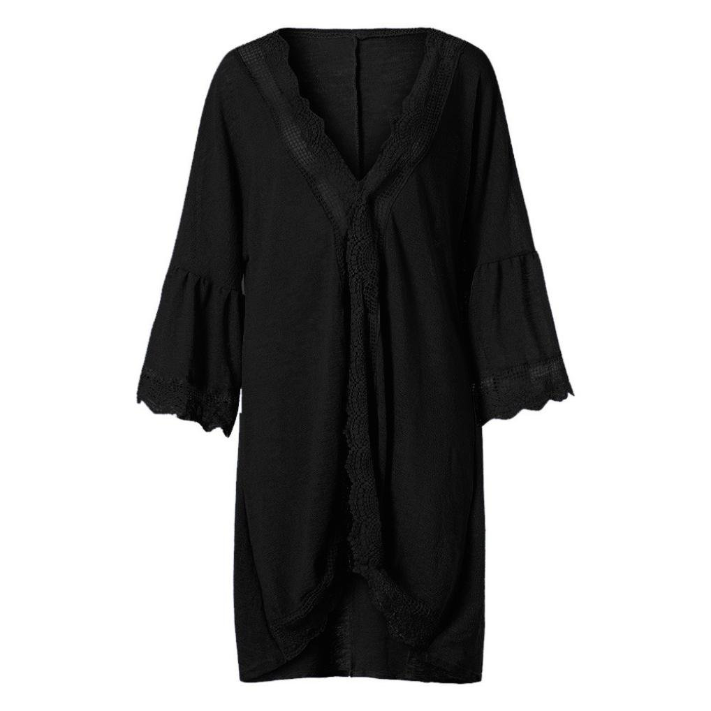 7413d63d4cb8a Amazon.com: FimKaul Women's 3/4 Bell Sleeve Kimono Cardigan Solid Color  Lace Blouse Top: Sports & Outdoors