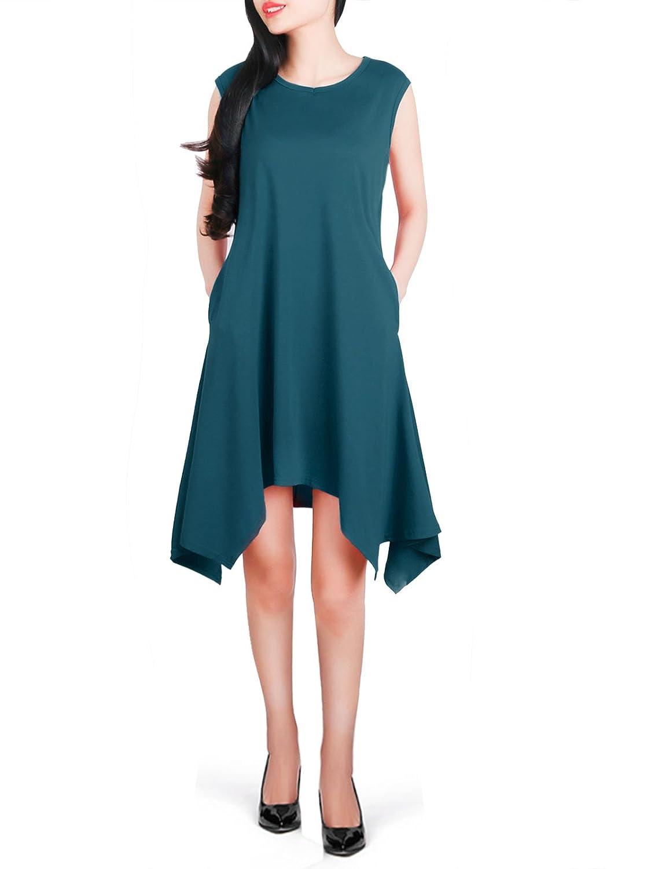 Anna Smith Women Sleeveless Crew Neck Solid Color Asymmetrical Hem