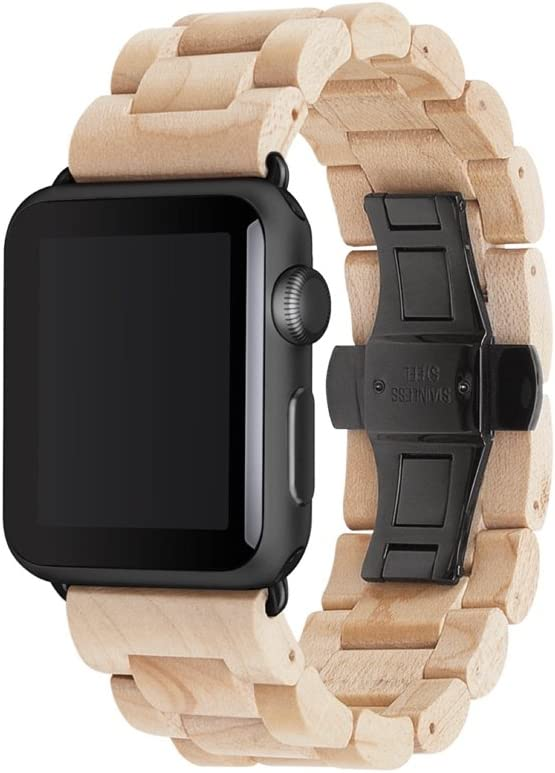 Woodcessories - Band Compatible with Apple Watch Series 1-5 Made of Real Wood, EcoStrap (40/42 mm, Maple/Black)