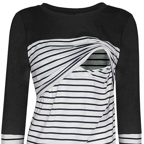 BaZhaHei Camiseta De Mujeres Ropa para La Lactancia De Maternidad De Raya para Mujeres Las Mujeres Embarazadas Maternidad EnfermeríA Raya Lactancia Tops ...