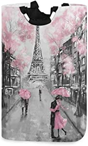 ALAZA Art Paris Eiffel Tower Large Laundry Hamper Bag Collapsible with Handles Waterproof Durable Clothes Round Washing Bin Dirty Baskets Organization for Home Bathroom Dorm College