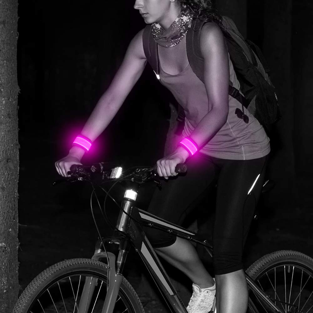 2 Pack Glowing Sports Event Wristbands Pet Owners Reflective Light Up Elastic Arm Bands Safety Lights for Runners Cyclists 2 Pack High Visibility Nylon Elastic Reflective Glowing Sports Wristbands for Runners Yuansen Joggers LED Armbands for Running