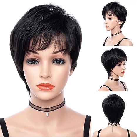 Mujer peluca pelucas Mujeres Corto Negro Liso Pelo Wig oscuro para Carnaval o Disfraz Cosplay Party