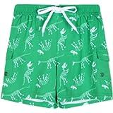 Nonwe Boy's Swim Trunks Quick Dry Soft Drawsting Printed Cargo Pocket Pool Shorts