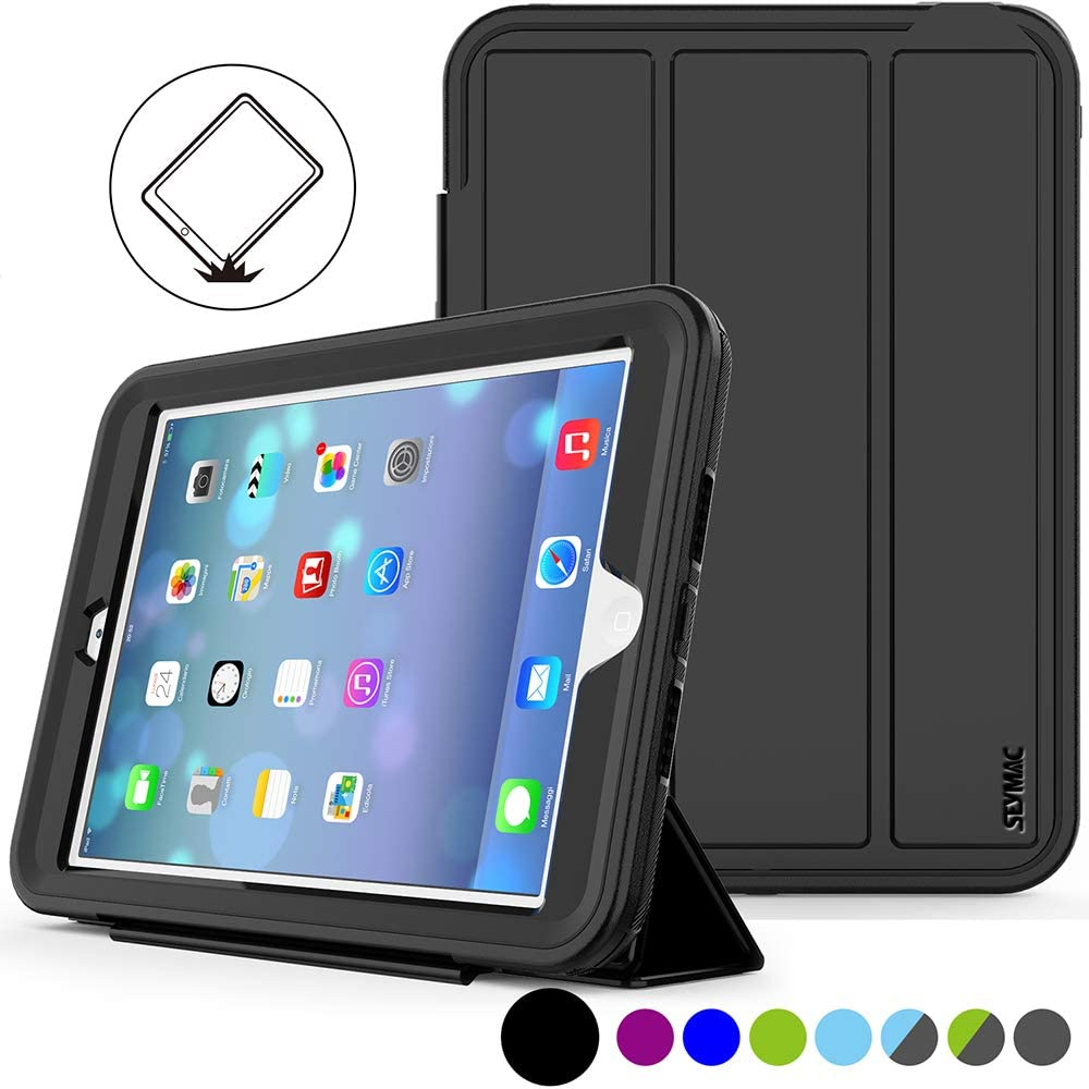 SEYMAC Stock for iPad Mini 1 2 3 Case, (Not Mini 4), Three Layer Shock Proof Protective Case for Kids,Smart Cover Auto Sleep Wake & PU Leather Folio Stand Function for iPad Mini 1st, 2nd, 3rd (Black)