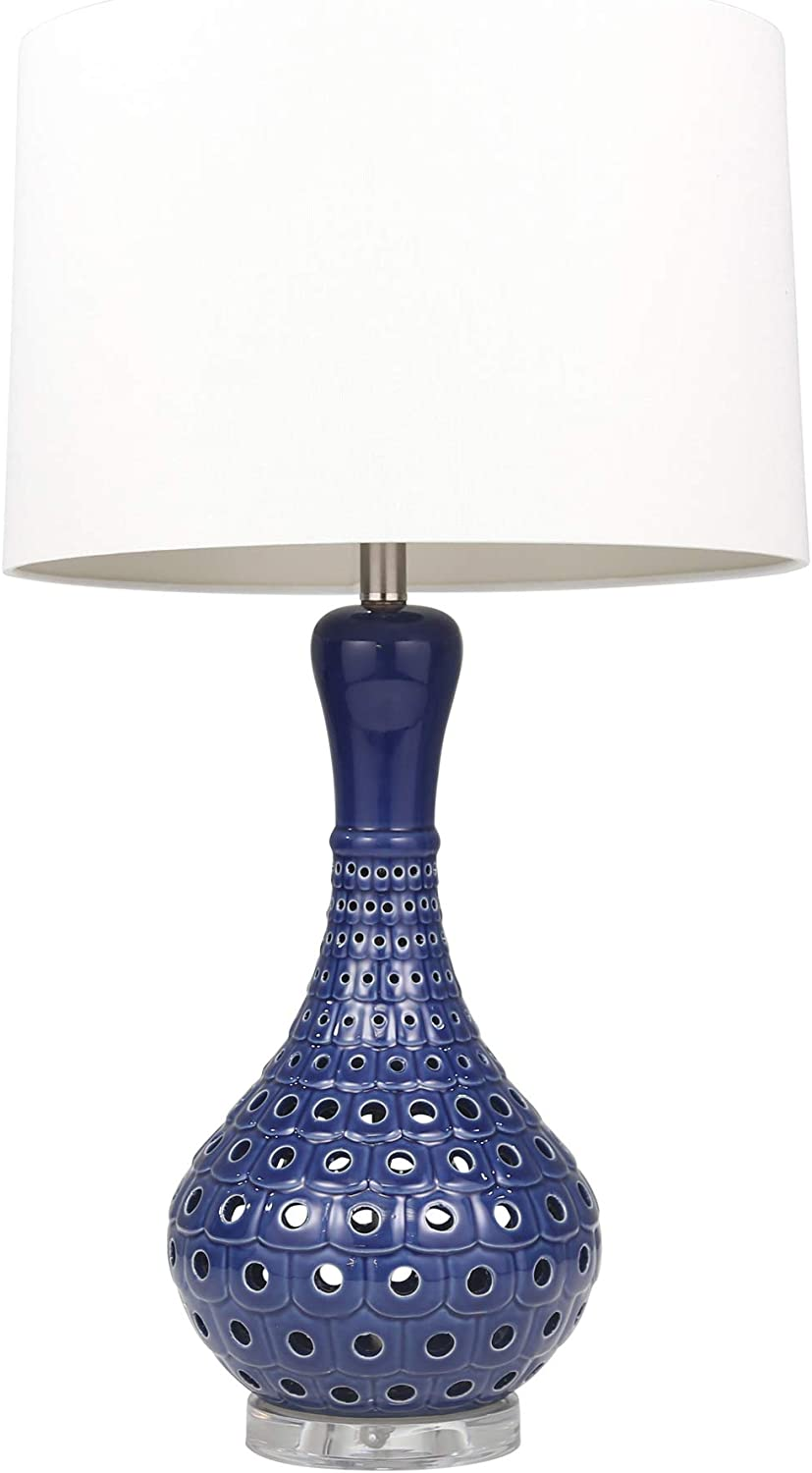 "Sagebrook Home 50201-02 Ceramic Pierced Bottle Table, Navy Blue, 31"" Lamps"
