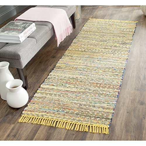 Safavieh Rag Rug Collection RAR121H Hand Woven Yellow and Multi Cotton Runner (2'3