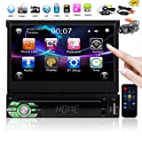 In Dash 7 inch Car Stereo System with Capacitive Touchscreen Single 1 din Car dvd cd Player Autoradio Bluetooth GPS Navigation Mirrorlink for Android Phones Support USB SD AUX Video MP3 + Wireless Cam