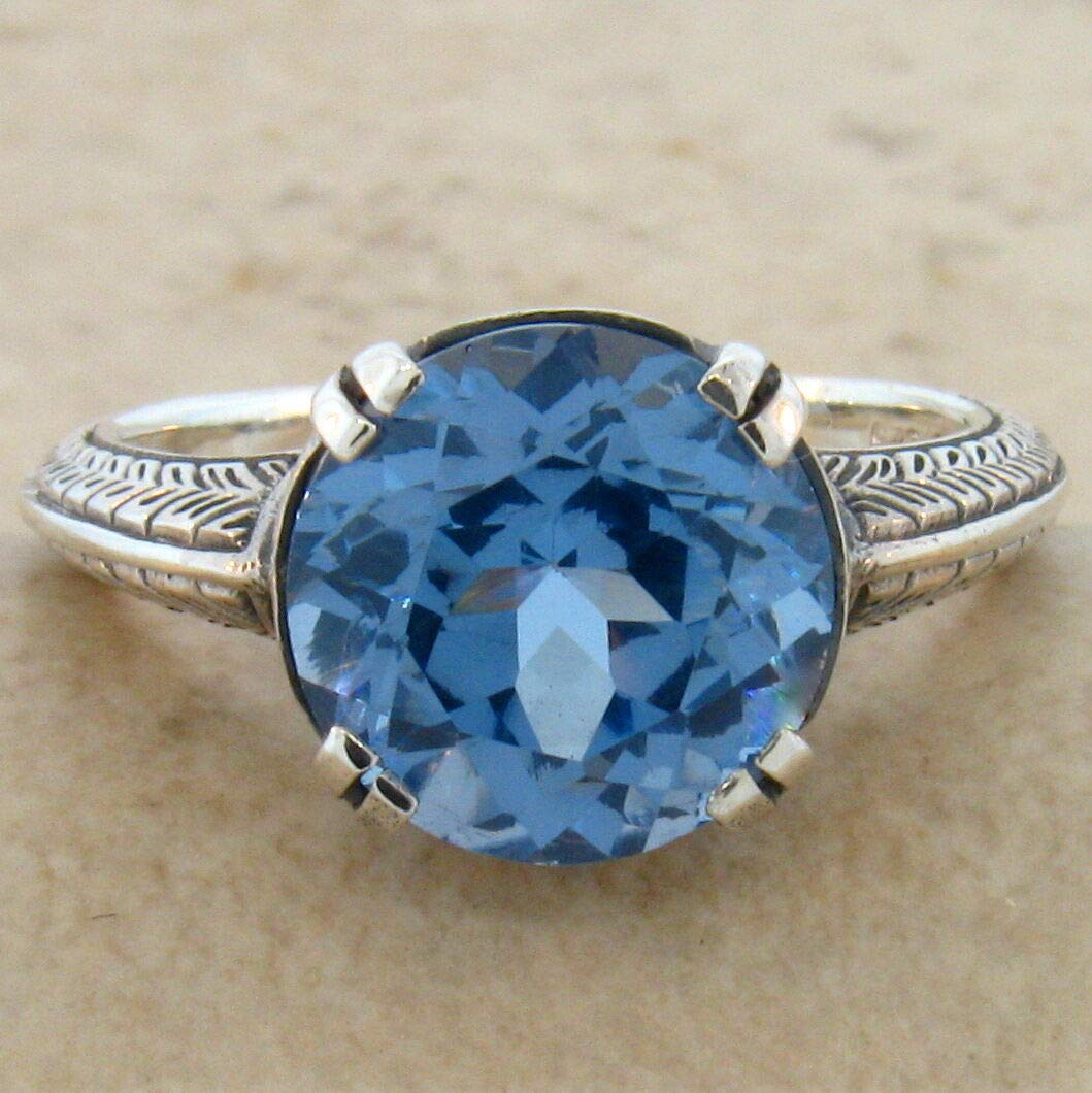 4.5 CT SIM Aquamarine Antique Design 925 Sterling Silver Ring Sz 6 KN-4431
