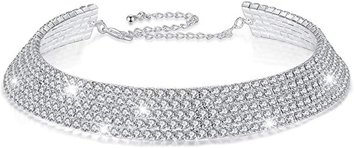 Elegant Bling Crystal Rhinestone Chain Necklace Silver Wedding Choker U