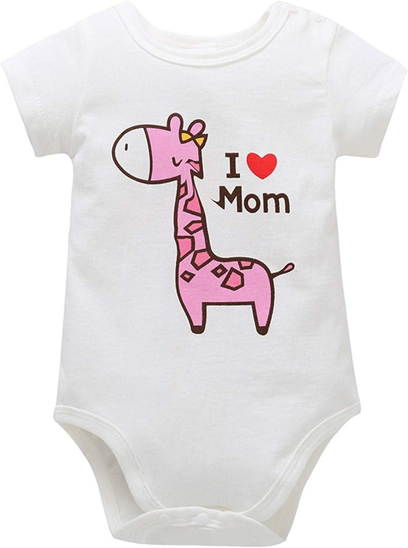 Evan Fordd Newborn Infant Baby Boy Girl Cartoon Giraffe Letter Printed Short Sleeve Jumpsuit
