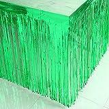 YJBear 2 Pack Tinsel Fringe Table Skirt Halloween Christmas Metallic Foil Fringe Party Table Skirt Green 107'' X 29''