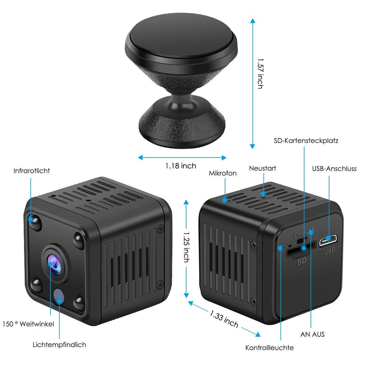 Micro WiFi Nanny CAM con detecci/ón de Movimiento y aplicaci/ón de visi/ón Nocturna Mando a Distancia port/átil Ultra compacta IP c/ámara Mini c/ámara HD 1080P WiFi Wireless peque/ña c/ámara de vigilancia