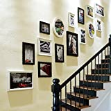 TIANTA- Stairs photo wall Frame wall Simple modern woody European style photo wall Creative frame wall combination adorn ( Color : #1 )