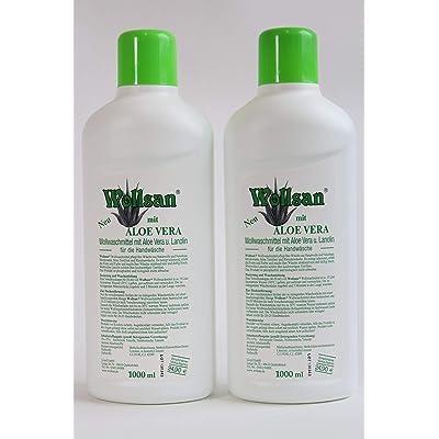 Wollsan Detergente con Aloe Vera para Lana y Fino, Limpieza de colchones, 2 Botellas a 1000ml en Juego