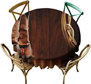 KaMiao Circular Table Cover Western Decor,American Style Cowboy Wild West Culture Equestrian Sports Team Roping Barn,Umber Brown Diameter 70