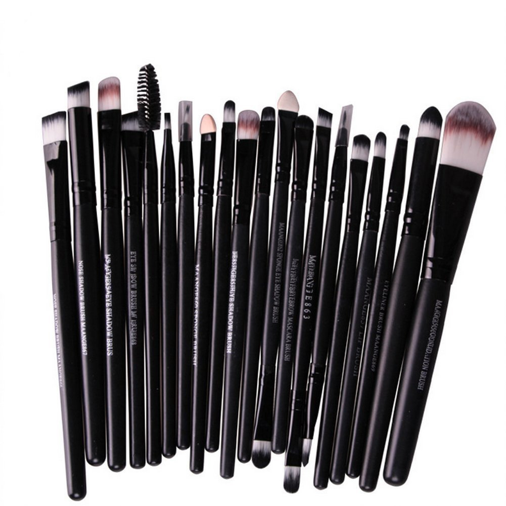 Leisial 20PCS Professional Pinsel Make-up Pinsel Set Kosmetik Pinsel Set Lidschatten Make-up Pinsel Set, Schwarz