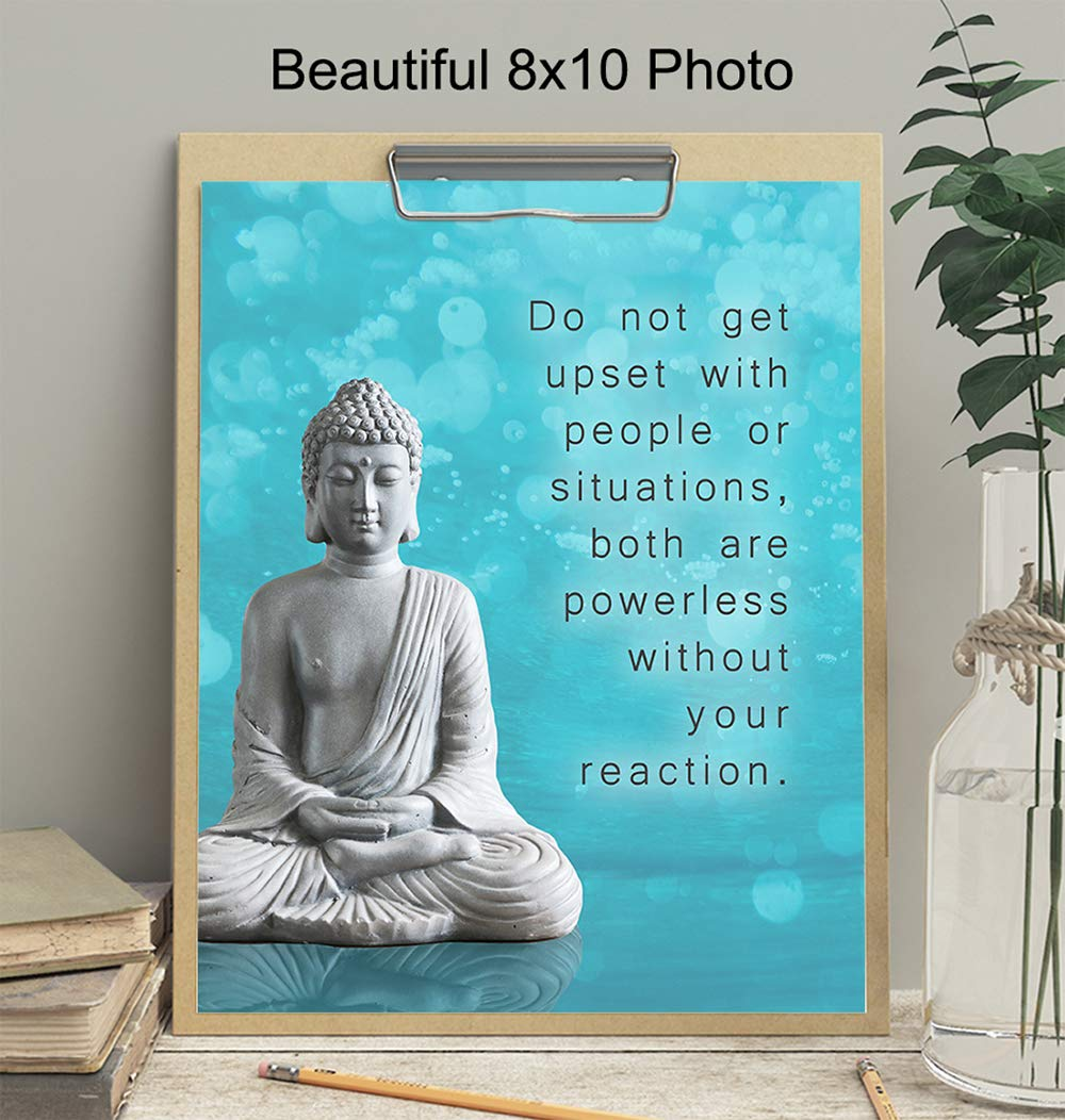 Buddha Decor Buddhist Buddhism Fan Bedroom Gift for Women Living Room Zen Wall Art 8x10 Yoga Studio Meditation Picture Print Home Decoration for Spa Inspirational New Age Quote Saying