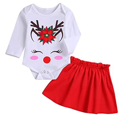 4acdbdac596 Christmas Thanksgiving Outfits Baby Girl Deer Smile Romper Long Sleeve Top  + Red Skirt 2PCS Clothes
