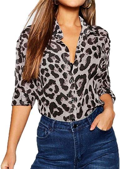 Mujeres Camisas Casual La Solapa Camisetas de Manga Larga ...