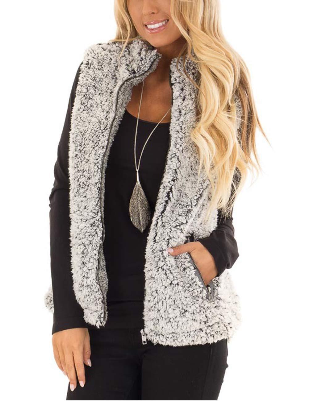 MEROKEETY Women's Casual Sherpa Fleece Lightweight Fall Warm Zipper Vest with Pockets Heather Dark Grey by MEROKEETY