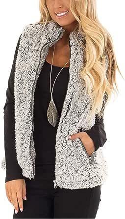 MEROKEETY Women's Casual Sherpa Fleece Lightweight Fall Warm Zipper Vest with Pockets