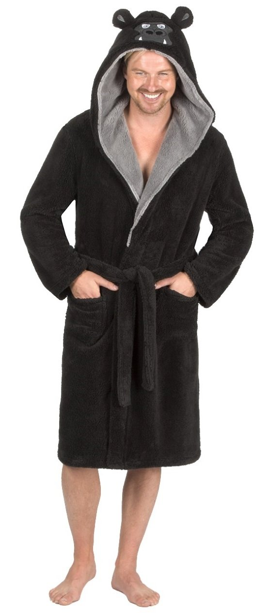 MICHAEL PAUL Mens Hooded Luxury Animal Gorilla/Wolf Snuggle Dressing Gown