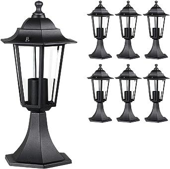 Monzana 6X Farolas de jardín Exterior Hazel Aluminio Vidrio 60W Antracita lámpara rústica Pedestal Sendero Patio terraza: Amazon.es: Iluminación