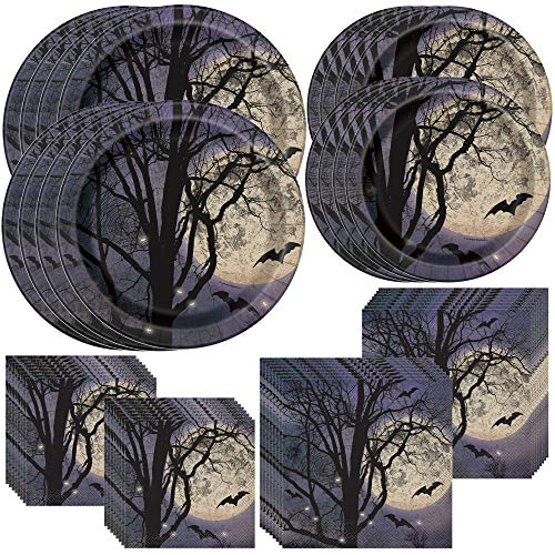 Halloween Themed Desserts (Unique Spooky Night Party Bundle | Luncheon & Beverage Napkins, Dinner & Dessert Plates, Table Cover | Great for Halloween Parties and Themed)