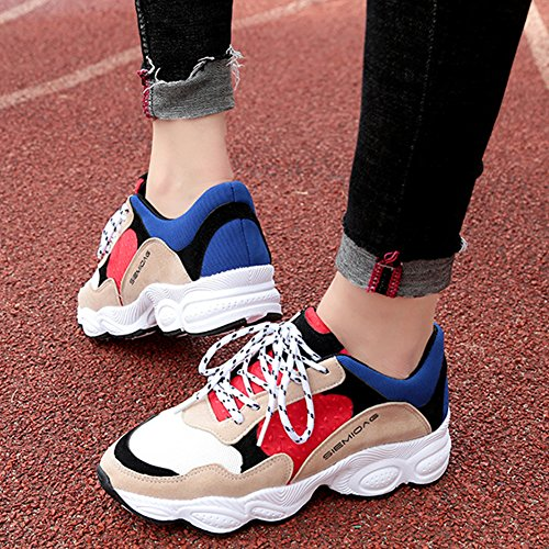 Sport Sneakers KKLM Athletic Jogging Gym Running Chu Shoes Red16 Fitness Walking Workout Women's Fashion warm gqSUX0