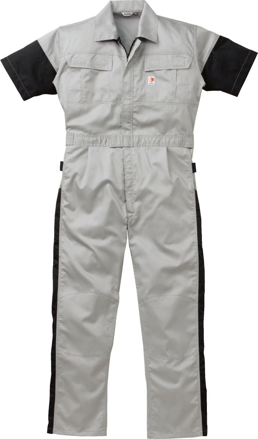 [丸鬼]ROUND ONI[ツナギ服] 充実の機能を満載 涼しいメッシュ入り 綿100パーセント 薄手タイプ 春夏用 半袖続服(023-261) B01LZR6VZH 5L|40-ネイビー