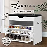 Artiss 15 Pairs Leather Upholstered Shoe Bench,56.5cm Length Wooden Shoe Cabinet, White