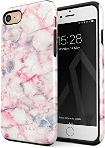 BURGA Phone Case Compatible with iPhone 7/8 / SE 2020 - Raspberry Jam Pink Candy Marble Cute Case for Women Heavy Duty Shockproof Dual Layer Hard Shell + Silicone Protective Cover