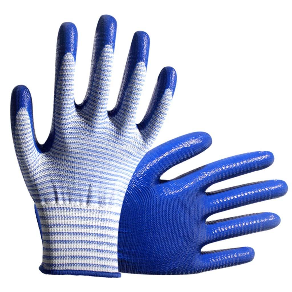 AINIYF Gloves Industrial Gloves Zebra Gloves Mechanical Anti-slip With Rubber Gloves SuitFor Gardening, Fishing (blue 12 Pairs)