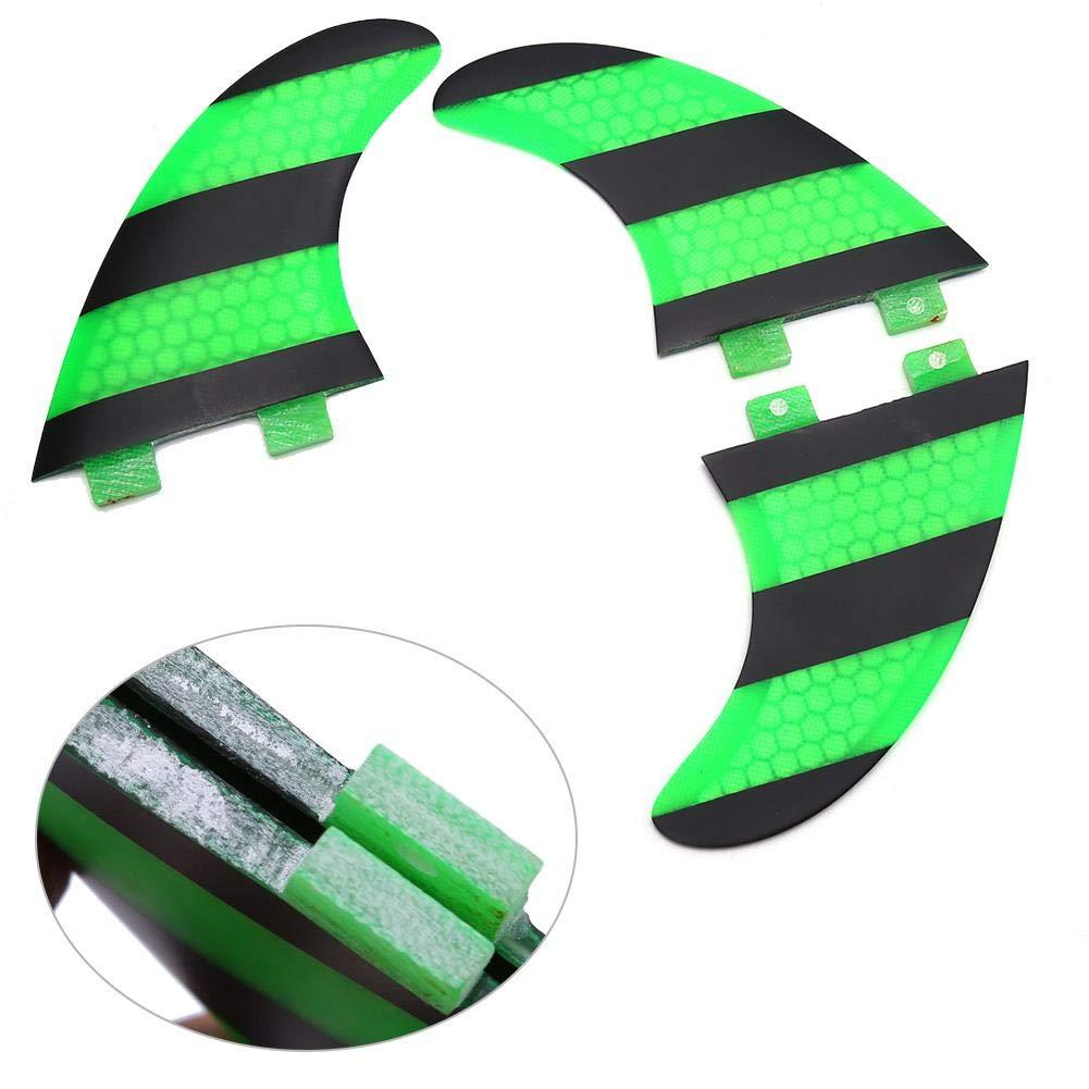 Tablas de Kite Tablas de Paddle VGEBY1 Aletas de Surf Aletas de Tabla de Paddle FCS G5 Verde Negro Aletas de Tabla de Surf de Fibra de Vidrio de 3 Piezas para Tablas de Surf