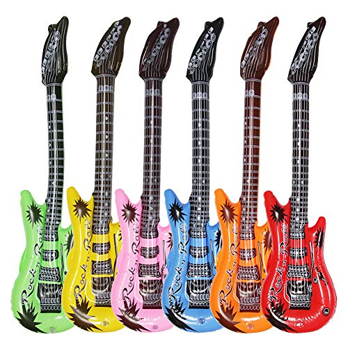 Dr.dudu Inflatable Guitar, Waterproof Assorted Colors Party Decoration (6pack) -