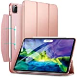 "ESR Yippee Trifold Smart Case for iPad Pro 11 2020 & 2018, Lightweight Stand Case with Clasp, Auto Sleep/Wake [Supports Pencil 2 Wireless Charging], Hard Back Cover for iPad Pro 11"", Rose Gold"