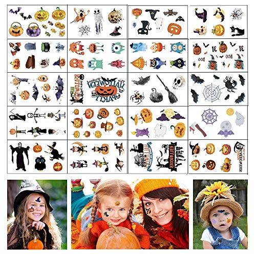 Halloween Tattoos, 20 Sheets Party Supplies Pumpkin Bats Witch Monster Tattoos, Party Favor Accessory for Kids Children ()