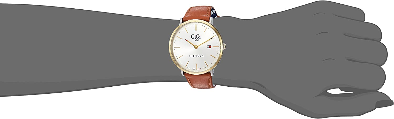 Tommy Hilfiger Women s Gigi Quartz Watch with Leather Calfskin Strap, Brown, 20 Model 1781749