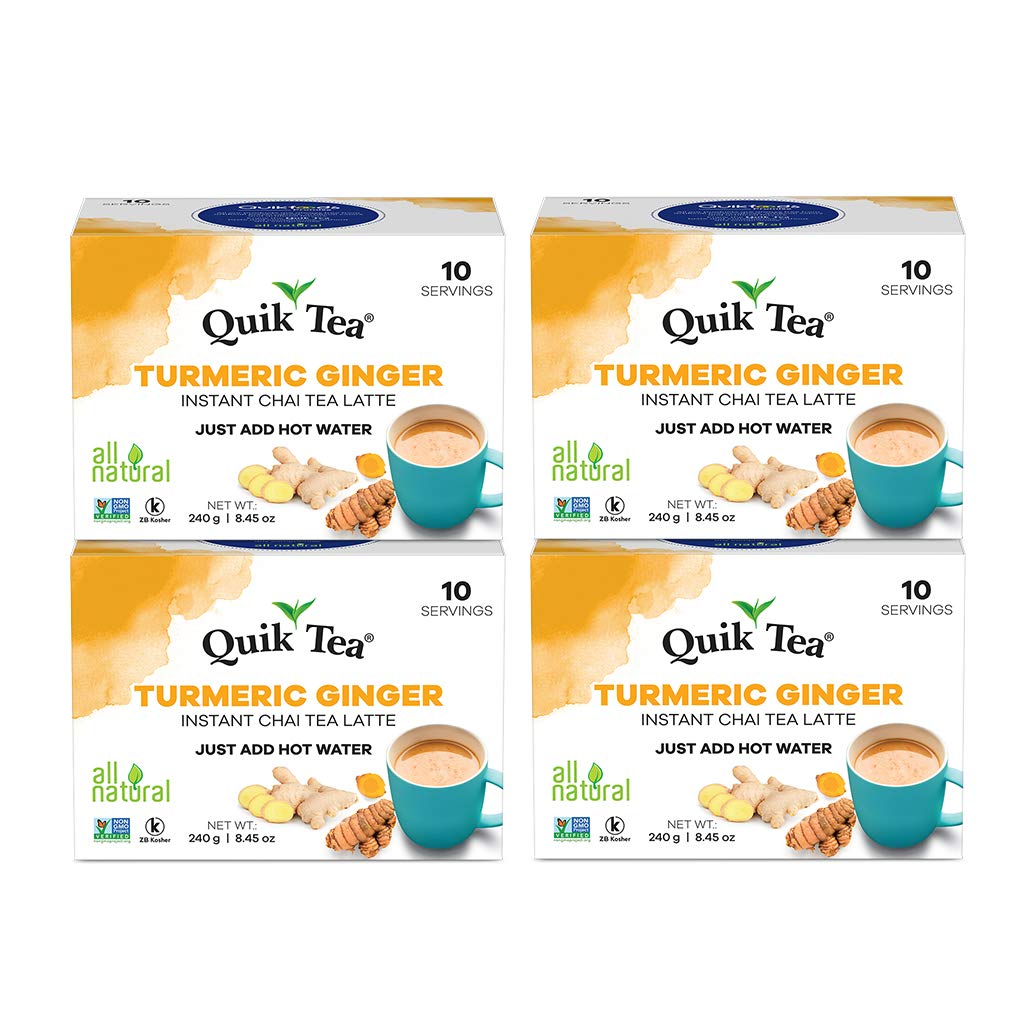 QuikTea Chai Latte, Tumeric Ginger - 40 Count (4 Boxes of 10 each), 34 Ounce