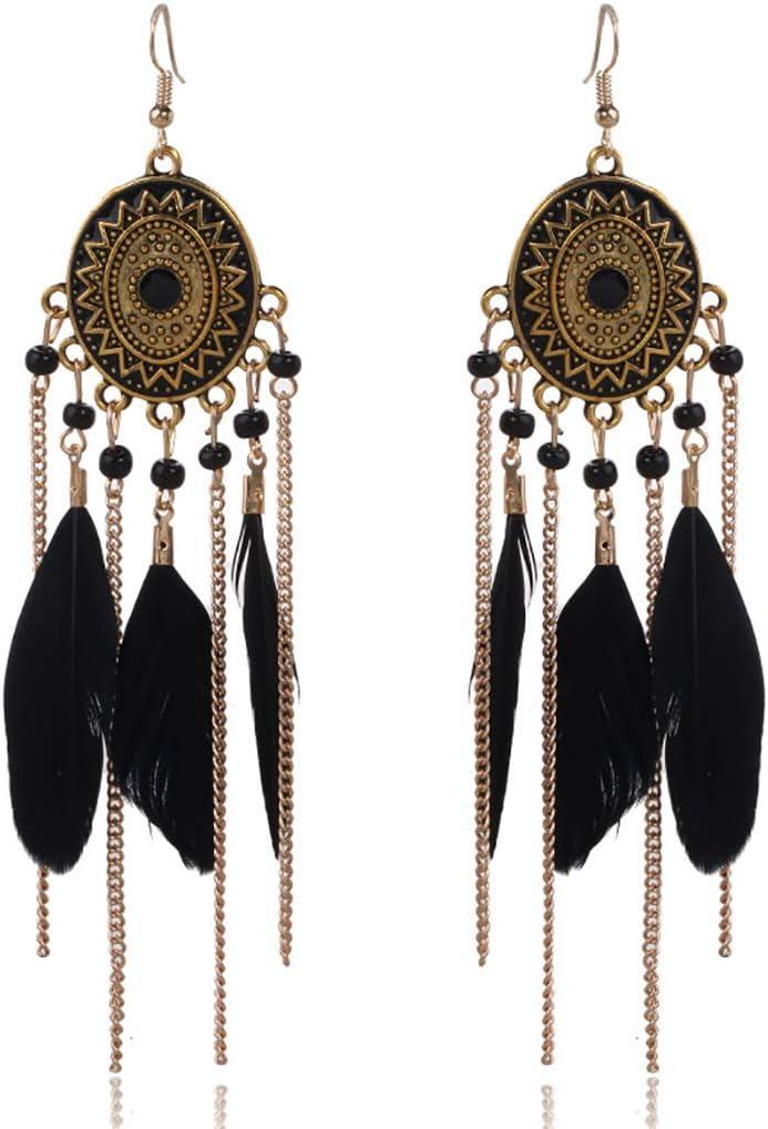 Bohend Pendientes de borla de plumas bohemias de oro largo turquesa pendientes bohemia viaje playa cadena oído accesorios para mujeres y niñas (negro)