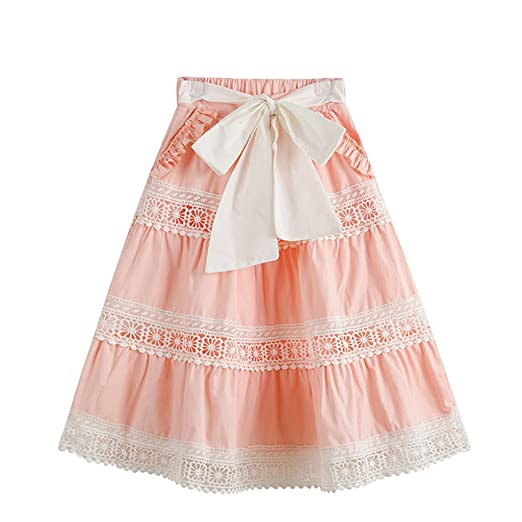 21dc7c0c3ab95a Amazon.com: Girls Summer Pink Ruffles Lace Bow Cotton Skirts: Clothing