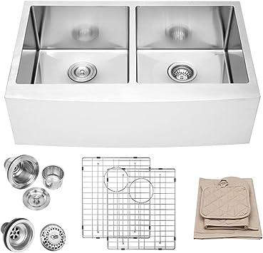 33 Farmhouse Kitchen Sink Lordear 33 Inch Stainless Steel 16 Gauge Apron Front Double Bowl 50 50 Farm Kitchen Sink Double Bowl Amazon Canada