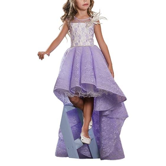 Amazon.com: Purple Lace Hi-low Puffy Long Kids Prom Pageant Dresses ...