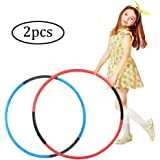 Hoola Hoop for Kids,2 Pcs Adjustable Weight Size Plastic Hoops for Sports Playing Games, Great For Adults & Pets(Blue,Red)