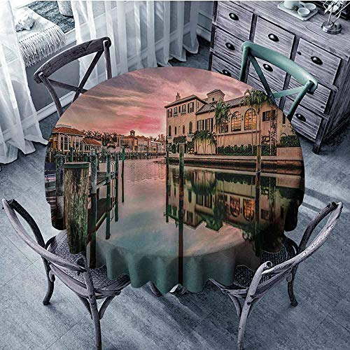Cityscape Washable Table Cloth Colorful Sunrise Over Venetian Bay Naples Florida Apartments Trees Waterscape Wedding 67