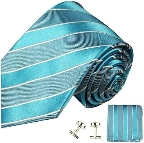 Paul Malone Extra Long Silk Necktie, Pocket Square and Cufflinks Sky Blue