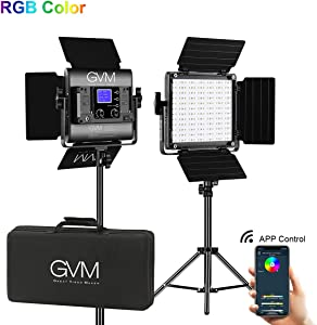 GVM Led Video Light 2 kit with APP Phone Control; 40W Adjustable 7 Colors+ Bi-Colors, CRI97 + / Brightness 0% -100%, Stand + Barndoor + LCD Screen;800D-RGB Lighting for YouTube, Studio