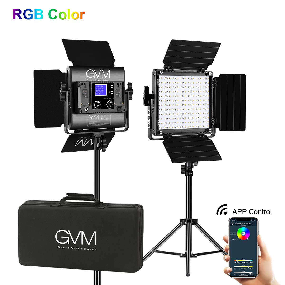 GVM Led Video Light 2 kit with APP Phone Control; 40W Adjustable 7 Colors+ Bi-Colors, CRI97 + / Brightness 0% -100%, Stand + Barndoor + LCD Screen;800D-RGB Lighting for YouTube, Studio by GVM Great Video Maker