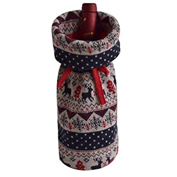 Gireshome Cable Knitted Deer Wine Bottle Cover Bag for Table Decorations  Gift Bag Christmas Wine Bottle 99bb923844